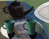 Black Teapot and two green cups